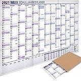 Yohmoe® XXL Schuljahresplaner 2021/2022 im Format 100x70 cm, gefalzt. Wandkalender Schuljahr 2021/22 Jahresplaner, Schuljahres Wandplaner Kalender für Schüler und Lehrer, Schulkalender Wand