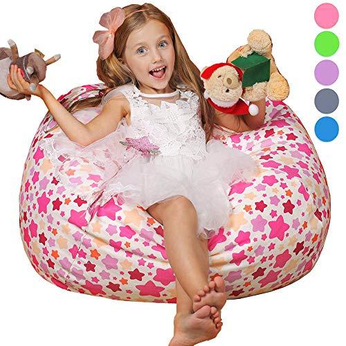 Wekapo Sitzsack für Stofftiere, 96,5 cm, extra groß, 121,9 cm, YKK-Reißverschluss, hochwertiges Baumwoll-Segeltuch (kleiner Stern)