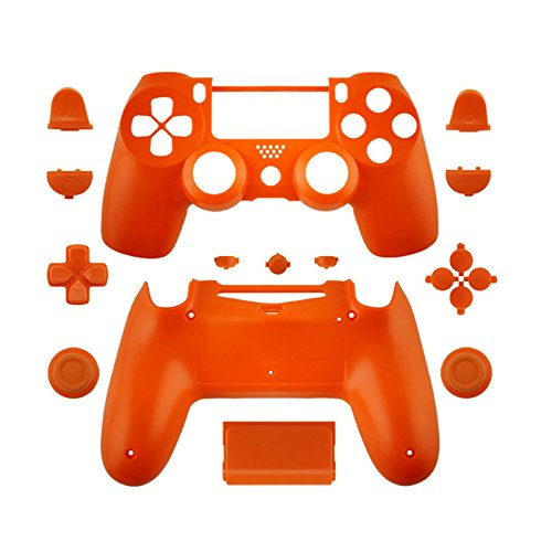 WPS Matte Controller Case Collection Full Housing Shell + Full Buttons for PS4 Playstation Slim Pro (JDM-040) Controller (Orange)