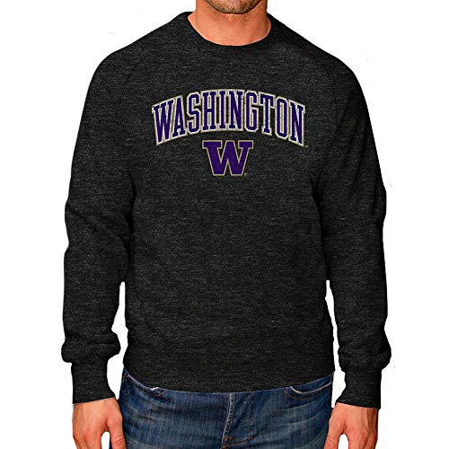 Elite Fan Shop Washington Huskies Vintage Crewneck Sweatshirt Charcoal Victory - X-Large