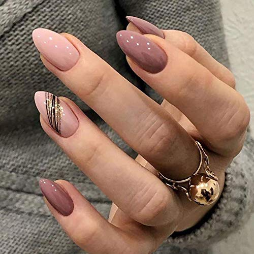 Brishow Coffin False Nails Short Fake Nails Gold Glitter Press on Nails Ballerina Acrylic Full Cover Stick on Nails 24pcs for Women and Girls (b)