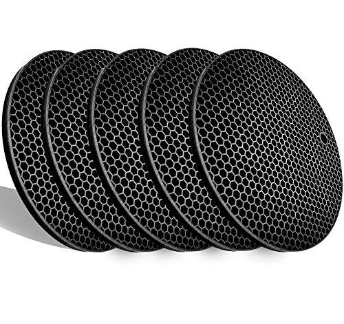 5 Pack Extra Thick Silicone Trivets Heat Resistant Pot Holder and Oven Mitts,Trivets for Hot Dishes,Nonslip Insulation Honeycomb Rubber Hot Pads for Countertop,Multi-Purpose & Flexible Mats,BK