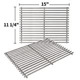 SHINESTAR 7522 Stainless Steel Grill Grates for Weber Genesis Silver A Spirit 210 Spirit e210 Spirit 500 Parts, 15 x 11 Cooking Grates for Weber 2 Burners Grill with Side Control Knobs