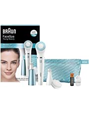 Braun Face SE832E Color Facial Cleansing Brush & Facial Epilator Limited Edition With Exfoliation Brush And Beauty Pouch
