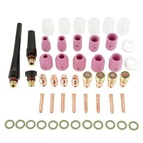 Kit Gas Lens Tig, 49pcs Lenti a Gas Tungsten Accessorio Saldatura Kit Ugelli di Alumine Bicchieri Collets Corpo in Vetro Taglio per Tig WP-17/18/26