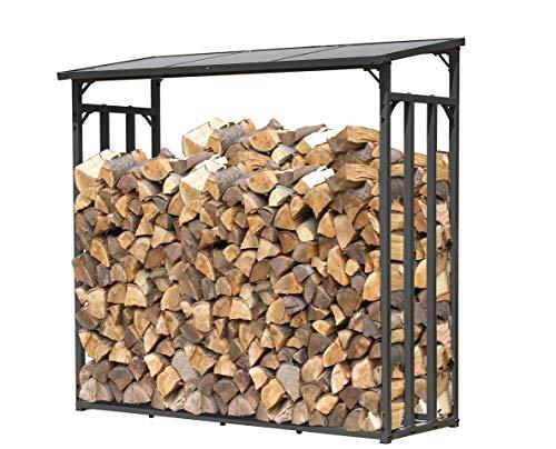 GRASEKAMP Qualität seit 1972 47477 Kaminholzunterstand XL 200x60x203cm Kaminholzregal Kamin Holzofen Regal, Grau