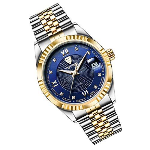 Reloj para Hombre de Lujo Reloj Impermeable para Hombre Reloj mecánico automático Tira de Acero Dorado Azul