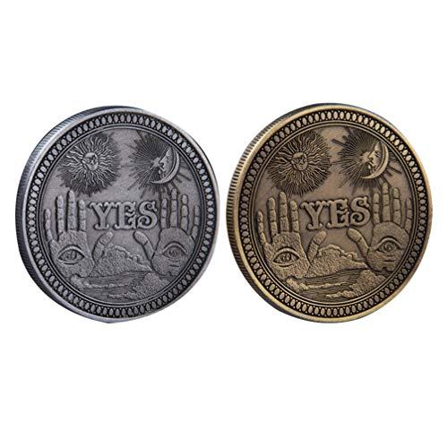PRETYZOOM 2 Stück Ja Nein Münze Entscheider Münze Gedenkmünze Geschenk 3D Münze Souvenir Bronze Und Silbermünze für Wurf Herausforderung Spiel