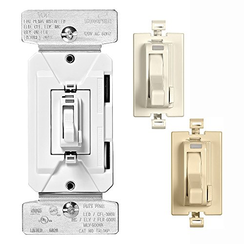 EATON TAL06P2-C2 AL Series 300W All Load 3-Way & Single Pole Toggle Dimmer with Preset and Color Kit, Light Almond/White/Ivory