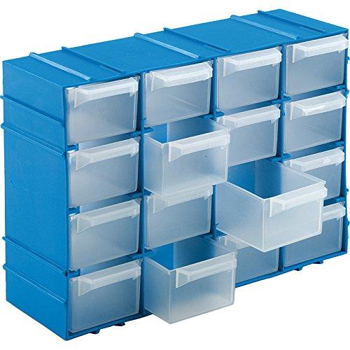 Kigima Sortierkasten Kleinteilemagazin 16 Fächer 22x15x8cm Blau
