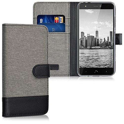 kwmobile Hülle kompatibel mit bq Aquaris X/X Pro - Kunstleder Wallet Hülle mit Kartenfächern Stand in Grau Schwarz