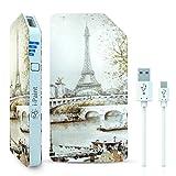 I-Paint Power Bank Batterie de Secours Externe 3000 mAh Micro USB Motif Paris Blanc