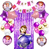 Sofia The First Theme Party Supplies Set Balloons   Includes Purple Party Curtain, Birthday Banner and Lovable Balloons  Princess Complete Birthday Party Decorations Supply Pack for Sofia the First Theme Kids Party Celebration Party Supplies