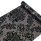 Vinilo autoadhesivo decorativo, papel pintado de Damasco negro, adhesivo para muebles, para armarios, puertas, tocador, cajones, estantes, calcomanía de pared (45X500CM)