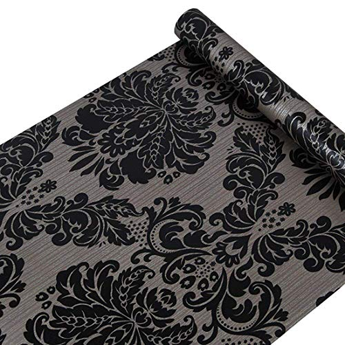 GLOW4U Autocollant en Vinyle décoratifs Noir Damas Contact Papier pour armoires Porte Sheves tiroir Commode Autocollant Mural (45 x 500,4 cm)