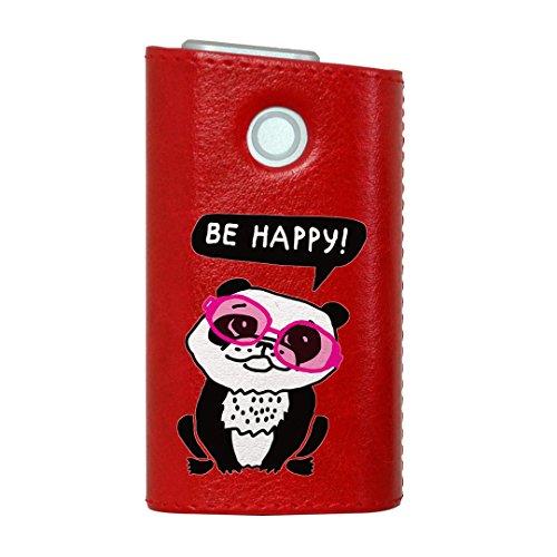 glo グロー グロウ 専用 レザーケース レザーカバー タバコ ケース カバー 合皮 ハードケース カバー 収納 デザイン 革 皮 RED レッド パンダ 動物 サングラス 010973