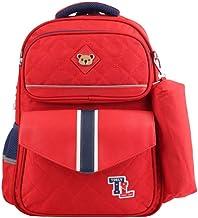 حقيبة ظهر للفتيات من تولي، حقيبة كتب ابتدائية للبنات، حقيبة مدرسية مع حافظة اقلام، احمر