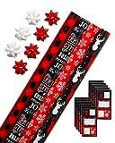 American Greetings Lot de papier cadeau de Noël en vrac avec grilles et nœuds et étiquettes cadeau Rouge/noir et blanc Motif écossais Motif rennes et flocons de neige
