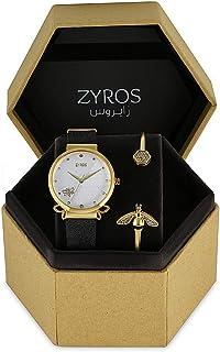 زايروس طقم ساعة يد نسائية مع اسوارة ، جلد ، SZAL048L010211