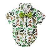 Aislor Baby Strampler Junge Sommer Hawaii Outfit Spieler T-Shirt Overall Hemd mit Fliege Cartoon Flamingo/Dinosaurier Bedruckter Einteiler Gr. 62-86 Grün 80-86