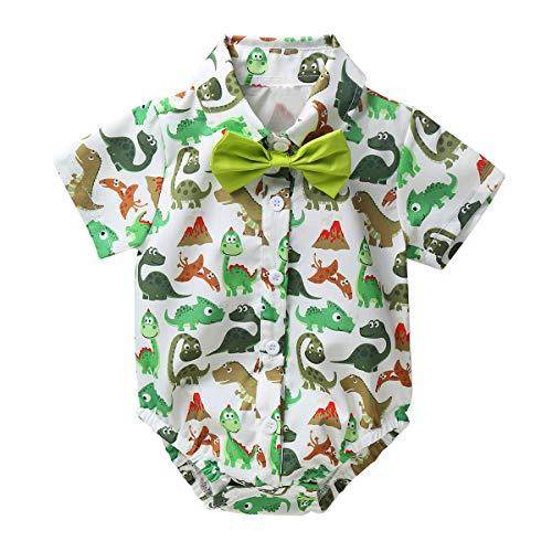 iiniim Baby Jungen Body Cartoon Flamingo/Dinosaurier/Drachen Druck Gentleman Kurzarm T-Shirt Hawaii Hemd mit Fliege Grün 80-86