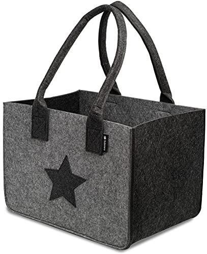 Tebewo Sac à shopping en feutre, grand sac à provisions avec anse, panier à provisions pliable pour le rangement du bois, sac de transport polyvalent, couleur gris avec étoile