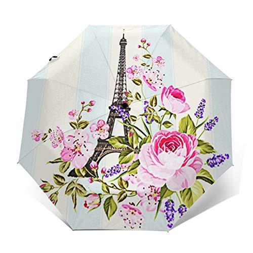 Regenschirm Taschenschirm Kompakter Falt-Regenschirm, Winddichter, Auf-Zu-Automatik, Verstärktes Dach, Ergonomischer Griff, Schirm-Tasche, Eiffelturm Schablone