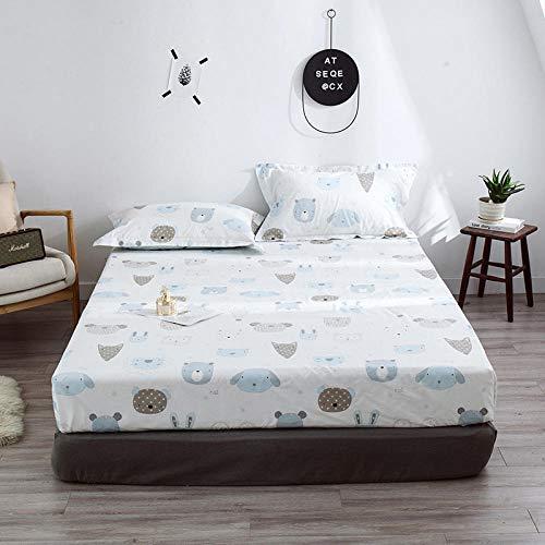 HPPSLT colchón Acolchado, antialérgico antiácaros, Sábana de Cama Impresa de algodón-2_150 * 200cm