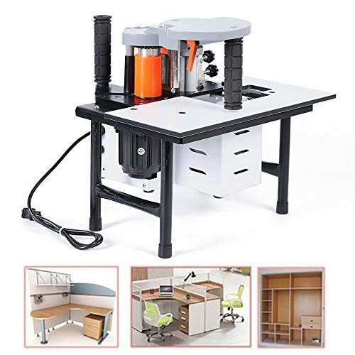 110V Portable Woodworking Edge Banding Machine, Double Glue Automatic Benchtop Edge Bander, US Stock
