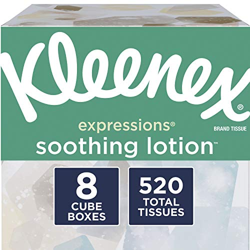 Kleenex Expressions Soothing Lotion Facial Tissues 8 Cube Boxes 65 Tissues per Box 520 Tissues Total Coconut Oil Aloe and Vitamin E