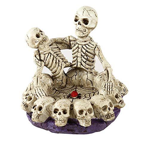 ZAQWSXCDE Escultura De La Suerte Figura Escultura Decorativa Halloween Creativo Home Pub Decoración Cráneo Cenicero Figura Modelo Estatua Horror Resina Artesanía Escultura Ornamento Regalo