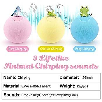 Lot de 3 balles interactives pour Chat - Balle pour Animaux - Son Rose et Oiseau - Son Jaune - Son de Cricket Bleu Grenouille…