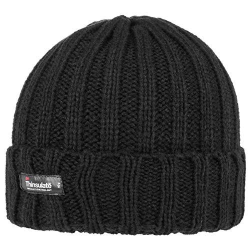 Lipodo Thinsulate Umschlagmütze Damen/Herren - Wintermütze mit Futter - Strickmütze mit breitem Umschlag - Mütze Herbst/Winter - Beanie schwarz One Size