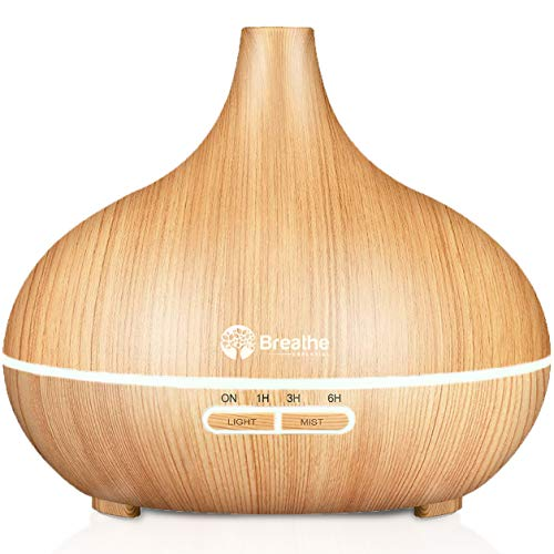 Breathe Essential Oil Diffuser | 550ml Diffusers for Essential Oils with Cleaning Kit & Measuring Cup (Natural Oak)