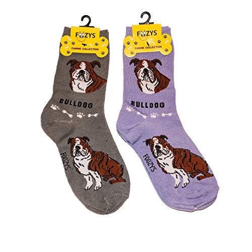 Foozys Unisex Crew Socks | Canine/Dog Collection | Bulldog