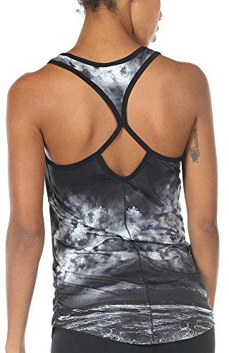 icyzone Damen Yoga Sport Top Lang - Fitness Gym Laufen Shirt Running Tanktop Vest (S, Storm)
