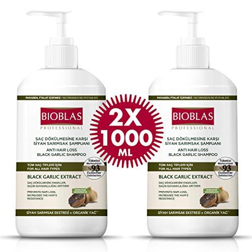 2x Bioblas Schwarzer Knoblauch Shampoo 1000ml - Anti Haarausfall für Frauen und Männer, Geruchlos, Dermatologisch Getestet (2x1000ml)