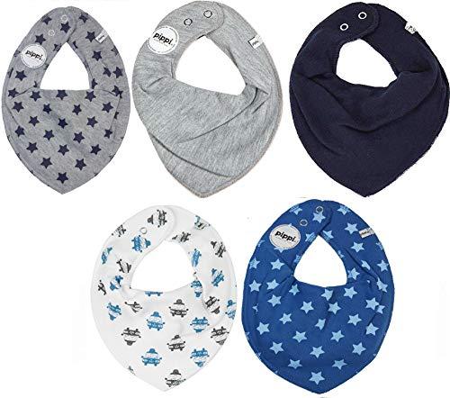 Pippi Lot de 5 bandanas triangulaires pour bébé. - Multicolore - Taille Unique
