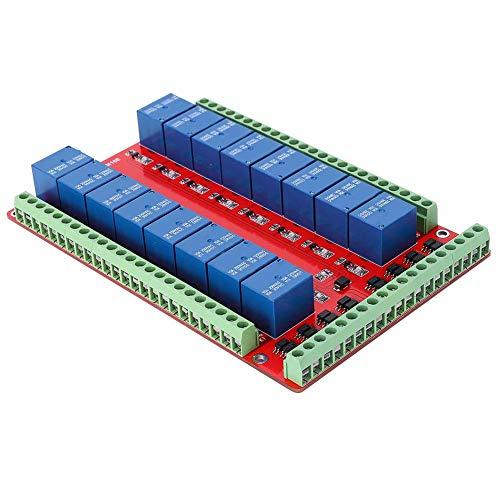 16-kanaals relaismodule, interfacekaart 16 kanalen, relaiskaart, 16 kanalen, interface-kaart met dubbele activering voor de besturing van de stroomvoorziening (DC24V)