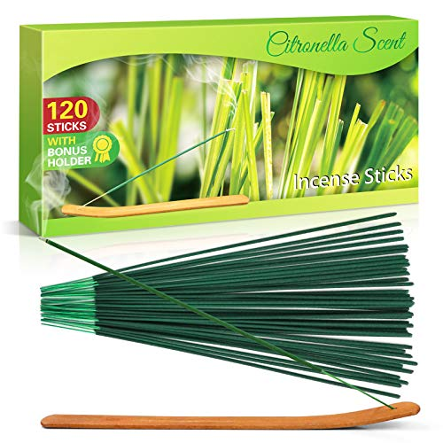 SCENTORINI Citronella Incense Sticks, Lemongrass Incense Sticks for Outdoor Garden Patio Camping,120 PCS