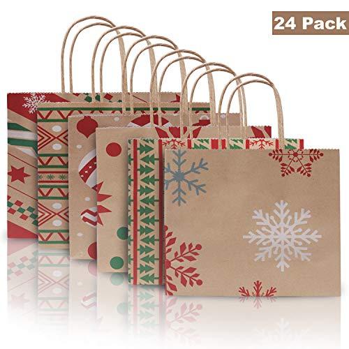 Sacchetti Regalo Carta Kraft (Set da 24) Sacchetti Carta con Manici (Dimensioni: 22x9x18,5cm) Buste Carta con Manico per Natale Buste Regalo Carta per Avvolgere Regali, Bomboniere e Feste di Natale