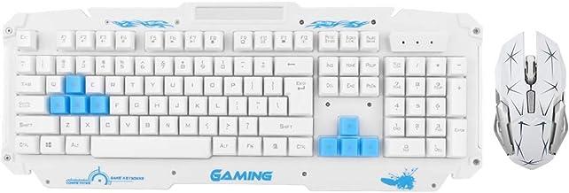 Yoidesu Wireless Keyboard and Mouse Combo - HK1868 2.4G Wireless Gaming Keyboard and Mouse Set - 104 Keys (White)