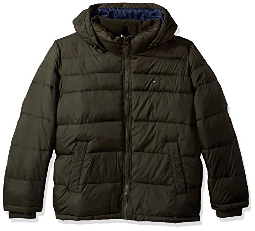 Tommy Hilfiger Men's Tall Big Insulated Midlength Quilted Puffer Jacket with Fixed Hood, Olive, 4X