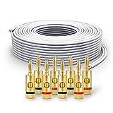 PureLink Cable de Altavoz SP061-025 2x2,5 mm² (99,9% OFC de Cobre Completo, Cable Trenzado de 0,20 mm) Cable de Altavoz de Alta fidelidad, 25 m, Blanco, Juego Que Incluye 8 enchufes Banana