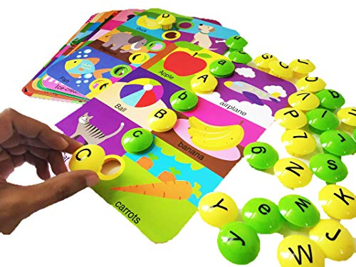 GoAppuGo Capital & Small Alphabet Learning Toys, 10 Activity Cards, 52 Alphabet Buttons, Educational Toys for Kids, Activity Learning Toys for 2 3 4 Year Old Boys Girl, Baby Birthday Gifts