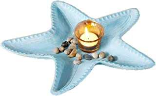 Decorative Candle Holders, 13.7''x13.7'' Nautical Beach Themed Resin Starfish Home Decor Tray with Glass Tealight Candle Holder and Pebbles (Candles Not Included) (Auqa)
