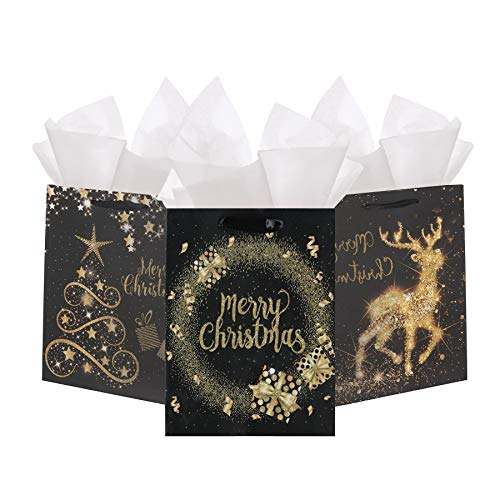 Premium Elegant Christmas Bags Black and Gold Glittered Assorted Set of 12-6 Medium Bags and 6 Large Gift Bags in 4 Classy Designs