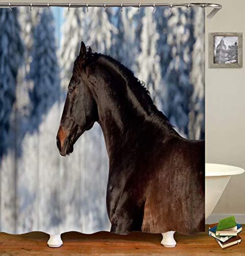 ZZZdz Pferde Im Winter. Duschvorhang: 180 X 180 cm. Duschvorhang Badezimmer Duschvorhang Sets Polyester Bad Badvorhang Wasserdichter Stoff Tapisserie .Mit 12 Haken.