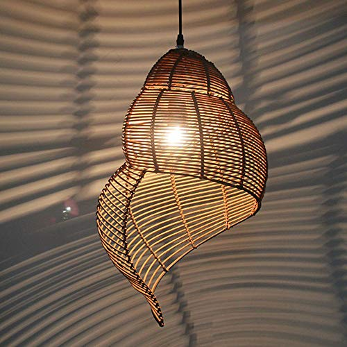 Spiral Pendant Lights Ceiling Lamps Rattan Lampshade Height Adjustable Wood Color E27 for Restaurants Hall Hallway Kitchen Dining Room Lighting (25 * 35cm),Gray