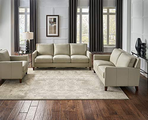 Hydeline Ashby 100% Leather Sofa, Loveseat and Chair Set, Ice